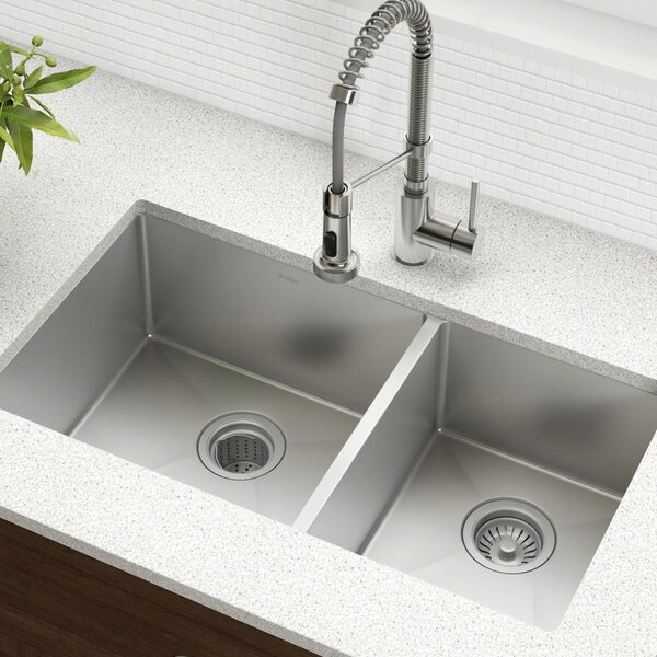 33 L x 19 W Double Basin Undermount Kitchen Sink with Drain Assembly by Kraus