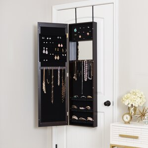 Modern Over The Door Jewelry Armoire With Mirror