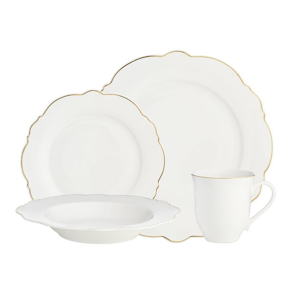 Bristol Scallop 16 Piece Dinnerware Set, Service for 4 by Godinger Silver Art Co