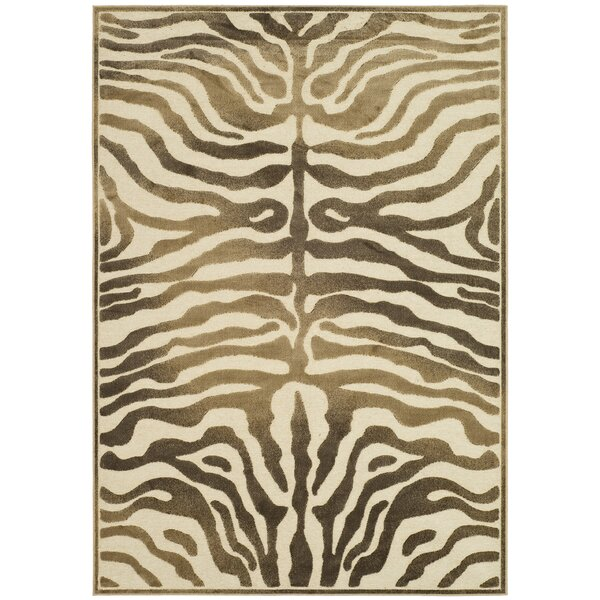 Linden Zebra Brown Area Rug by World Menagerie