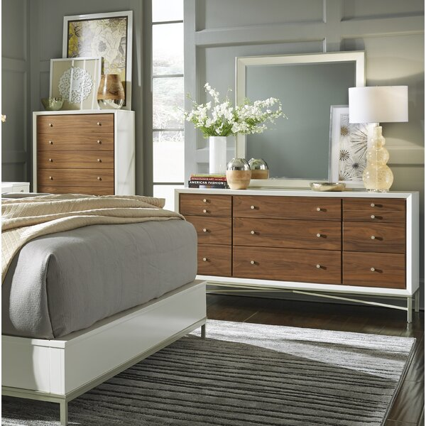 Lynette 9 Drawer Double Dresser with Mirror by Modern Rustic Interiors