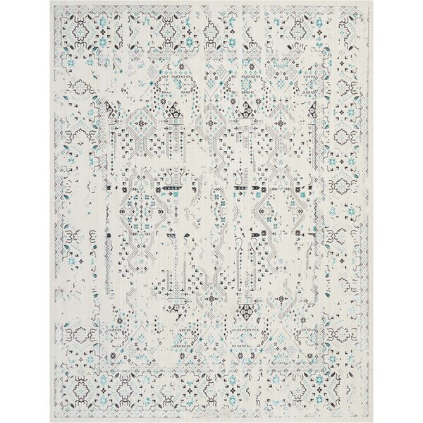 Silver Screen Ivory/Teal Area Rug by Kathy Ireland Home