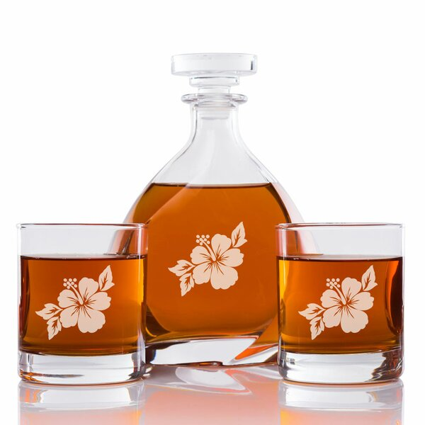 Addyson Hibiscus Engraved 3 Piece Beverage Serving Set by Bayou Breeze