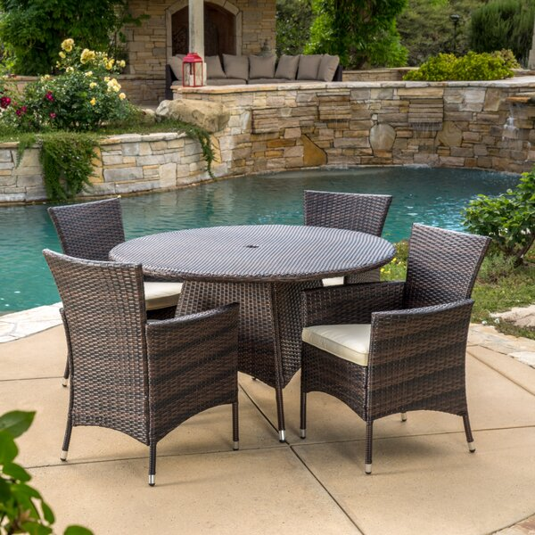 Byrom 5 Piece Dining Set with Cushions by Brayden Studio