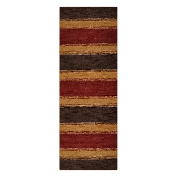 Ceniceros Striped Hand-Woven Wool Brown/Gold Area Rug by Latitude Run