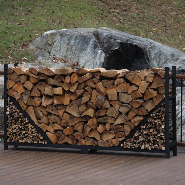 8' Straigth Firewood Log Rack With Kindling Kit By ShelterIt