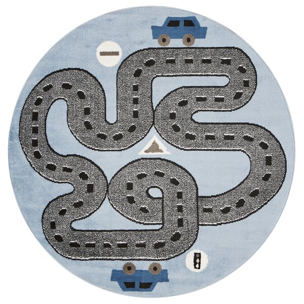 Gulf Racing Roadways Gray/Blue Area Rug by Zoomie Kids
