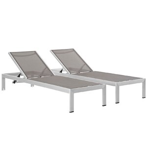 Coline Modern Outdoor Patio Aluminum Single Chaise (Set of 2)