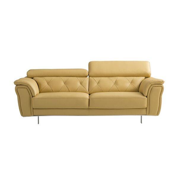 Giusti Leather Sofa by Orren Ellis
