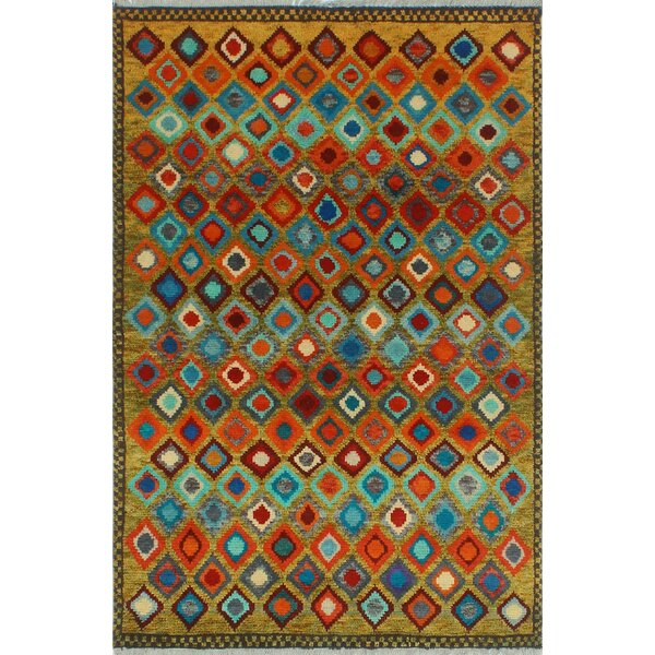 One-of-a-Kind Millender Akilah Hand-Knotted Wool Orange/Gold Area Rug by Bloomsbury Market