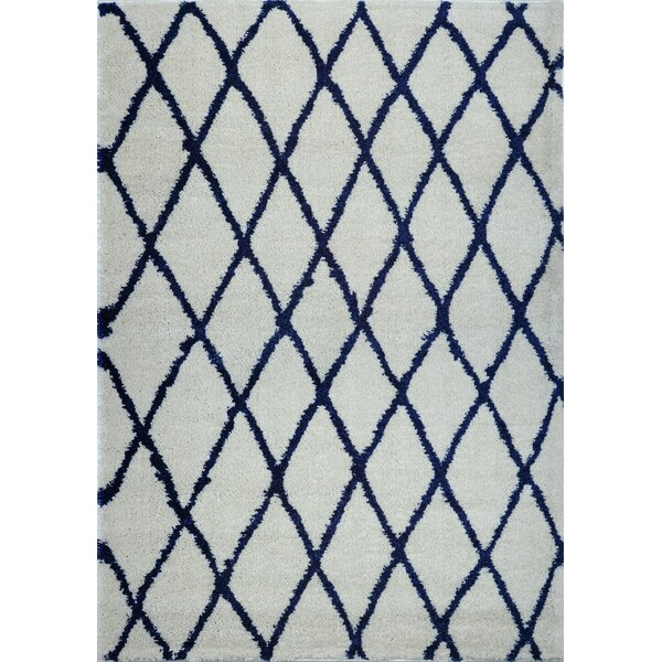 Fancy Trellis Light Gray/Navy Area Rug by Brayden Studio