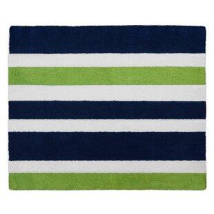Beau Navy Blue And Lime Green Stripe Bath Rug