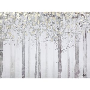 'Grey and Yellow Trees' Painting Print on Wrapped Canvas by Andover Mills