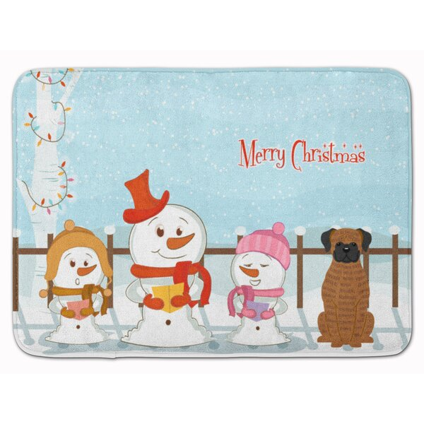 Merry Christmas Carolers Brindle Boxer Memory Foam Bath Rug by The Holiday Aisle