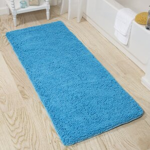 blue bath rugs & mats you'll love | wayfair