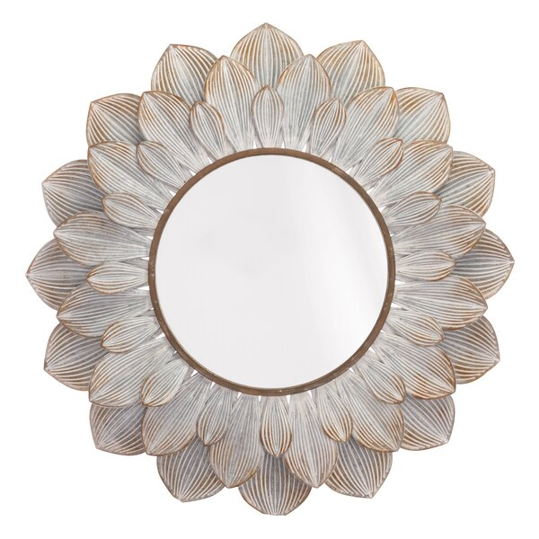 Derik Floral Distressed Accent Mirror by Bungalow Rose