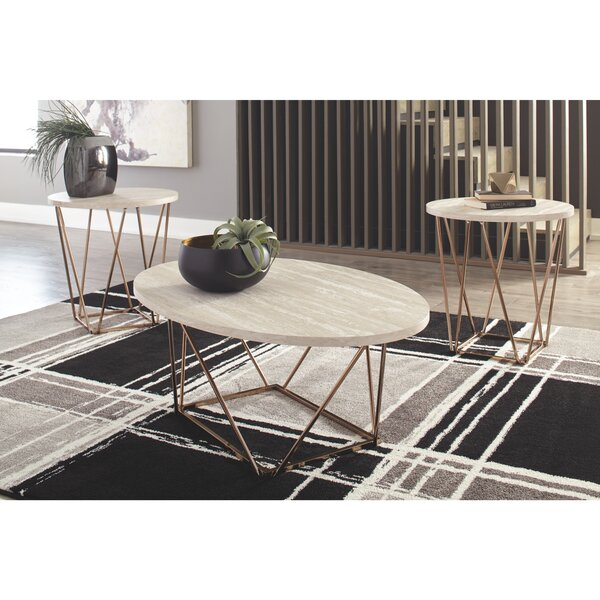 Check Price Lembo Two-Tone Occasional 3 Piece Coffee Table Set