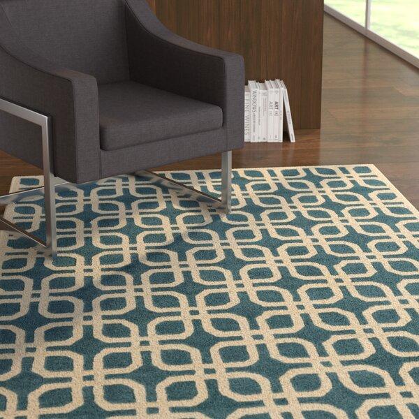 Murrah Teal/Ivory Area Rug by Ebern Designs