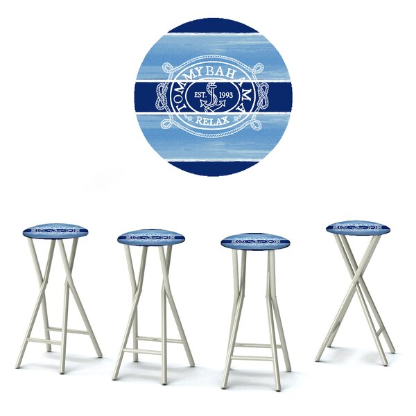 Blaise 30'' Patio Bar Stool with Cushion (Set of 4) by Rosecliff Heights Rosecliff Heights