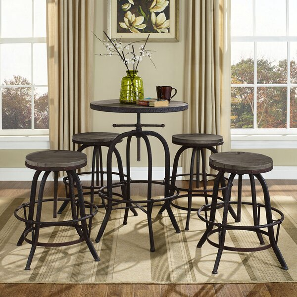Pavel Adjustable Height Bar Stool (Set of 4) by Millwood Pines Millwood Pines