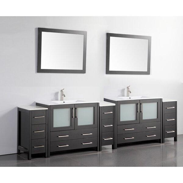 Boyette 108 Double Bathroom Vanity Set with Mirror by Wrought Studio