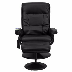 Contemporary Leather Heated Reclining Massage Chair with Ottoman by Red Barrel Studio