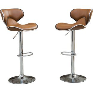 Inexpensive Harlow Adjustable Height Swivel bar stools (Set of 2) by Wade Logan