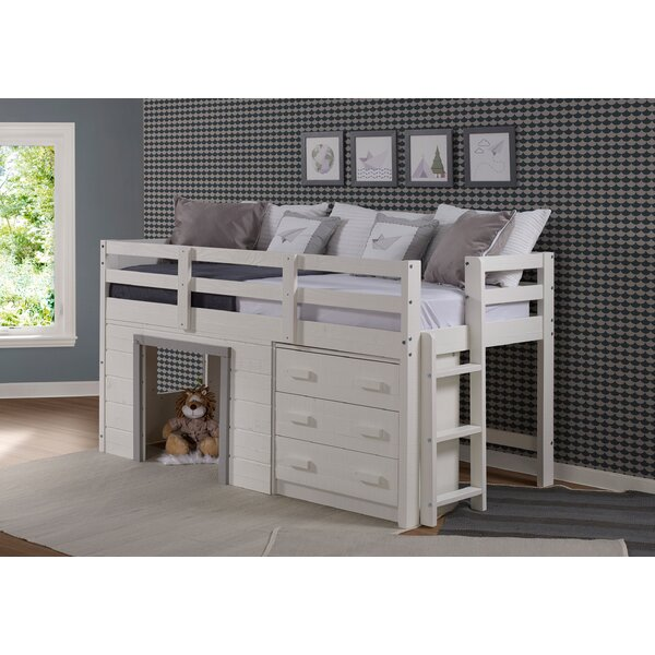 Tressa Twin Low Loft Bed with Drawers by Harriet Bee