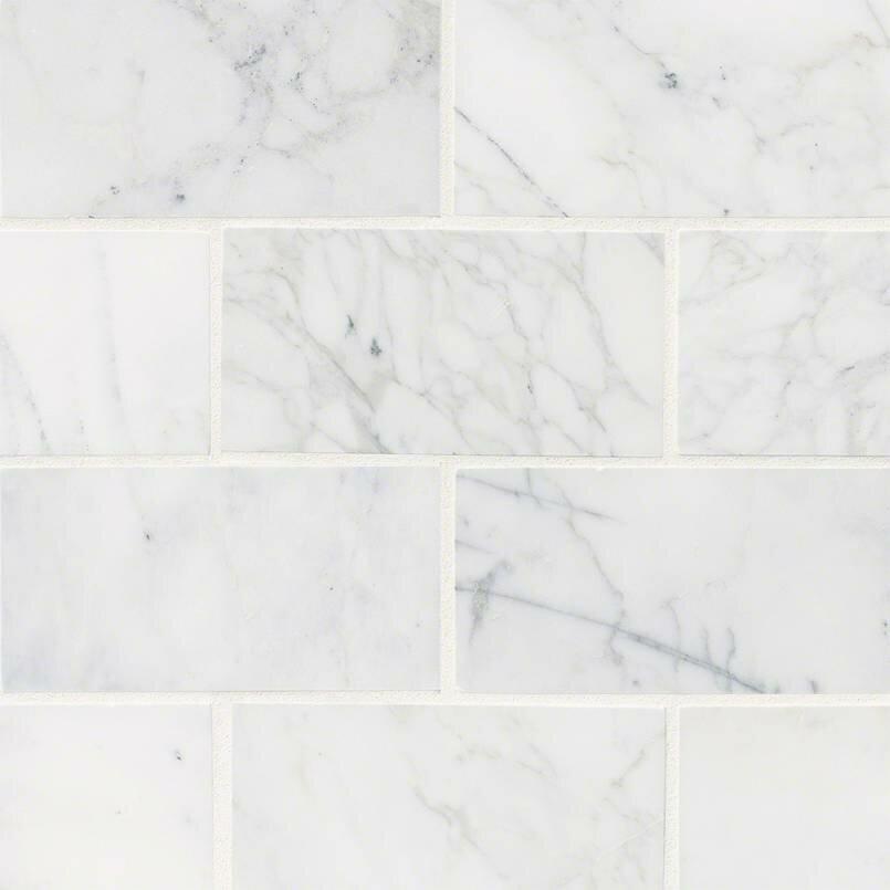 Msi Calacatta Cressa Honed 3 X 6 Marble Subway Tile In White