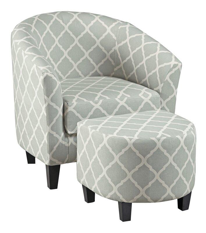 Brayden Studio 2 Piece Upholstered Barrel Chair And