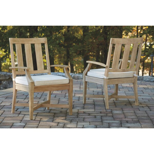 Anguiano Patio Dining Chair with Cushion (Set of 2) by Canora Grey