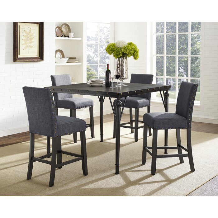 Sensational Haysi Wood Counter Height 5 Piece Dining Set With Fabric Nailhead Chairs Bralicious Painted Fabric Chair Ideas Braliciousco