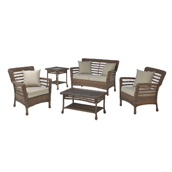 Lonny Modern 5 Piece Rattan Sofa Seating Group with Cushions by Bay Isle Home