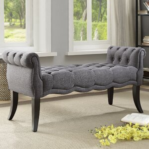 Campbell Traditional Roll Arm Upholstered Bench by Ophelia & Co.