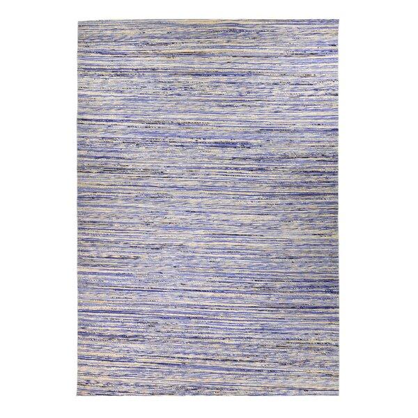 Sari Silk and Jute Hand Woven Gray/Light Blue Area Rug by Mats Inc.
