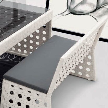 Happy Hour Resin Wicker Dining Bench with Back by 100 Essentials