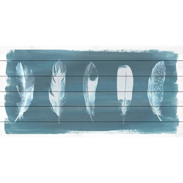 Feathers on Dusty Teal I Painting Print on White Wood by Marmont Hill