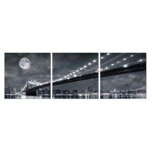 Brooklyn Bridge Moonrise 3 Piece Photographic Print Set by 3 Panel Photo