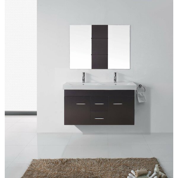 Ragnar 47 Double Bathroom Vanity Set with Ceramic Top and Mirror by Orren Ellis
