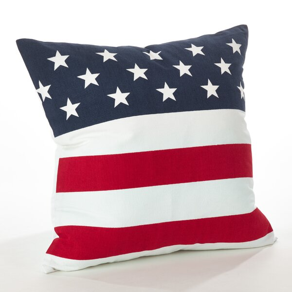 Star Spangled American Flag Cotton Throw Pillow by Saro