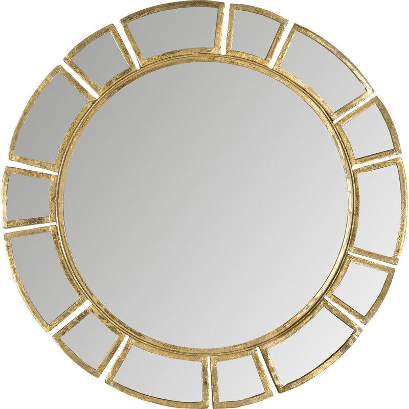 Birksgate Round Antique Gold Patina Sunburst Wall Mirror