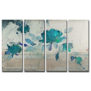 Painted Petals IV-B 4 Piece Painting Print on Wrapped Canvas Set by Ready2hangart