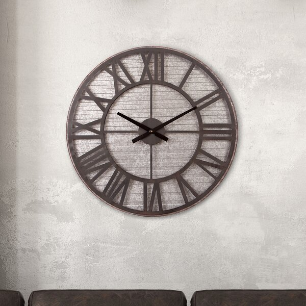 Oversized Windell Rustic 28.5 Wall Clock by Williston Forge