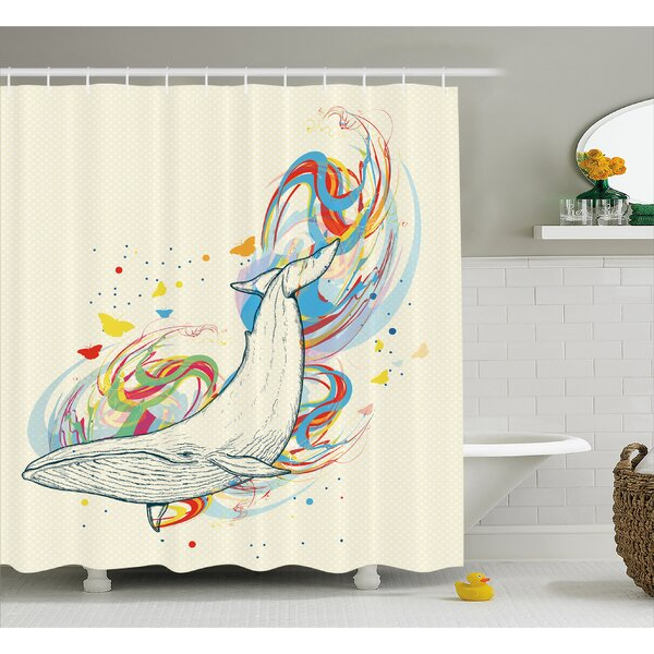 Cendrillon Whale in Ocean Dive Shower Curtain by Ebern Designs