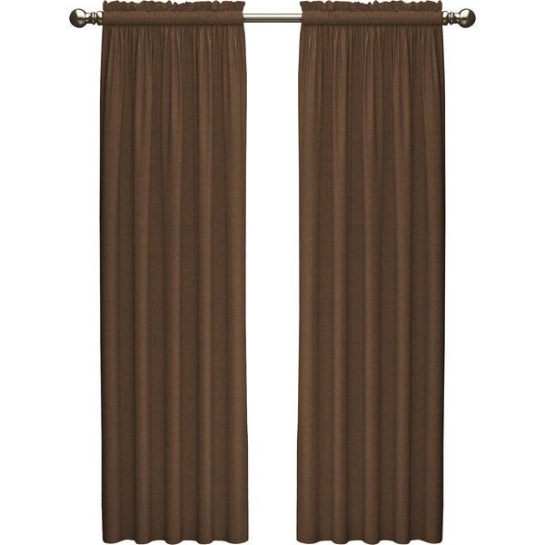 Kenda Solid Semi-Sheer Rod Pocket Curtain Panels (Set of 2) by Beachcrest Home