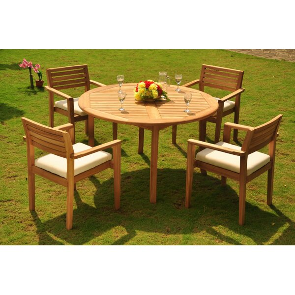 Barry Luxurious 5 Piece Teak Dining Set by Rosecliff Heights