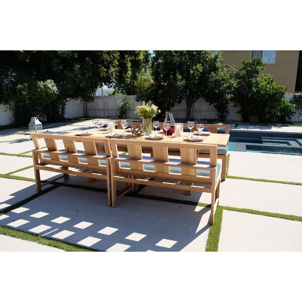 Veun 5 Piece Teak Sunbrella Dining Set with Cushions by Foundry Select