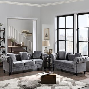 2 Pieces Tufted Velvet Upholstered Loveseat & 3 Seat Sofa Roll Arm Classic Chesterfield Sofa Set,5 Pillows Included by House of Hampton®
