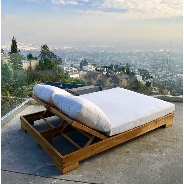 Renn Teak Sunbrella Double Reclining Chaise Lounge with Cushion by Orren Ellis