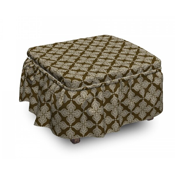 Damask Classic Floral Ottoman Slipcover (Set Of 2) By East Urban Home